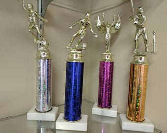 Star Column Trophy with Topper and Gold Nameplate