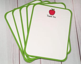Teacher / Red Apple / Thank You Green / White  Flat Note Card Set of 5