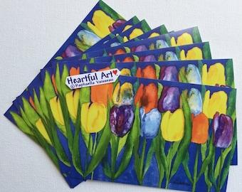 TULIPS On BLUE POSTCARD 10 Per Pack Inspirational Gardener Gift Motivational Positive Thought Flower Card Heartful Art by Raphaella Vaisseau