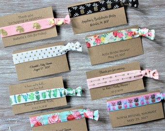 Personalized Kraft Cards-Party Favors-Party Favors Cards for Hair Ties-Thank You Cards-Custom Party Favors Cards
