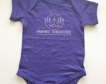 Parks and Recreation inspired shirt for baby. Pawnee Goddess bodysuit. Funny kid clothing.
