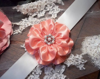 Bridal Sash, Statement Belts, Coral Flower Statement Belt, Ivory Sashes, Rhinestone and Pearl Center