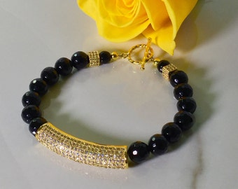 Faceted Onyx Beaded Bracelet with Cubic Zirconia Tube Focal Bead
