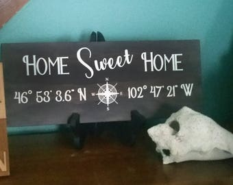 Personalized Home Sweet Home Hand Painted Wood Sign, Location Sign, Latitude Longitude Sign, Address Sign, House Warming Gift, New House