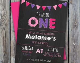 Printable girl first birthday party invitation, one year old girl party, digital 1st birthday invitation, the big one invitation, girl party