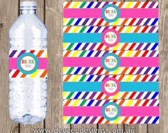 Rainbow Coloured Personalised Water Bottle Labels - YOU PRINT