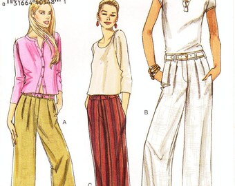 Sz 6/8/10/12 - Vogue Pants Pattern V8201 - Misses' Mock Fly, Pleated Pants with Carriers in 3 Variations and Lengths - Vogue Patterns