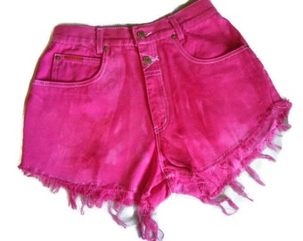 Pink Ombre High Waisted Denim Shorts 7 Pink Denim Shorts Fray Denim Shorts Upcycled Denim Shorts Custom Fray Shorts Distressed Denim Shorts
