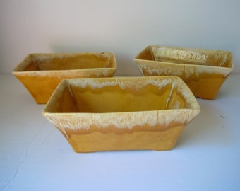 ceramic yellow rectangle planters 3 pots houseplants small pots