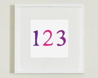 Pink & Purple 123 Number Illustration Decor for Nursery, Playroom or Children's Room (Download File)