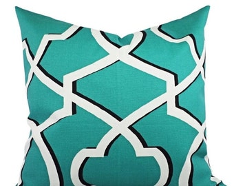 CLEARANCE Decorative Pillow Cover Jade Green Black and White - Geometric Pillow Cover - Premier Prints Morrow Pillow