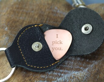 Personalized Guitar Pick , Father's Day Gift for Him , Custom Engraved with Leather Case Key Ring Anniversary Gift for Him , Engraved Gifts
