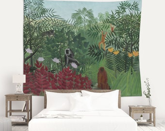 Wall Tapestries, Henri Rousseu, Naive Print, Tropical Decor, Wall Decoration, Tropical Print, Monkeys