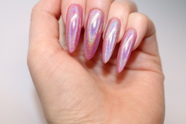 Unicorn chrome long stiletto nails, 20 full set of nails, Stiletto ...