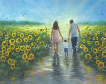 Sunflower Art Print, family art, mom dad son, baby boy, sunflower paintings loving couple and boy wall art, Vickie Wade Art