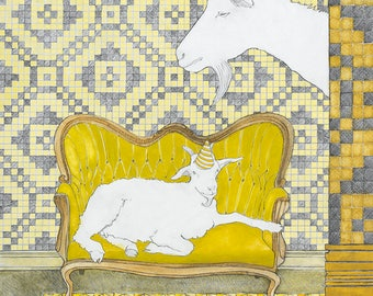 Giclée Print on Archival Museum Quality Paper, Limited Edition, Signed, Gouache and Graphite, Unframed, Wall Art, Goats, Pattern