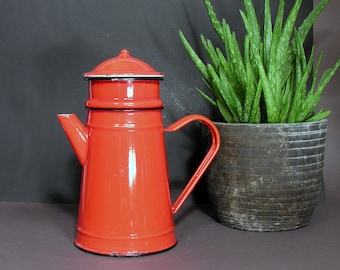 Red Enameled Coffee Pot with Filter - Vintage Enamelware Pot - Mid Century Collectible Enamel - Vintage Kitchenware - Industrial Home