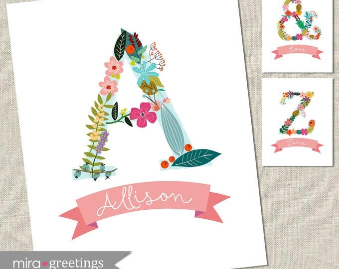 Alphabet Art DIGITAL File - Baby Girl Nursery Art - Floral Baby Decoration - Vintage Flowers - Cottage Chic Art - Printable Digital File