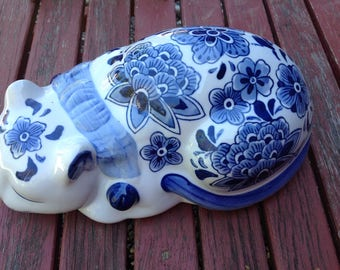 Vintage Ceramic White & Blue Cat - Blue Blossoms
