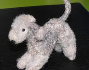 Needle Felted Dog / Custom Pet Portrait / Sculpture by Artist GERRY Lifelike Poseable  Molly Bedlington Terrier