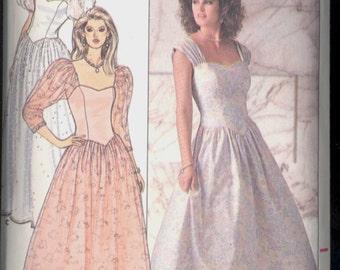 Uncut Size 6 8 10 Bust 30 31 32 half 1980s Dropped Waist Shaped Bodice Dress Butterick 4829 Vintage Sewing Pattern 80s