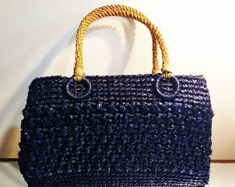 Vintage 60s Hollywood Shaggee Navy Straw Raffia Purse w Braided Handle vintage purse vintage handbag summer purse navy purse straw purse