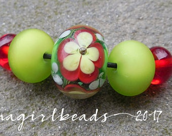 Christmas Floral Lampwork Bead Mini Set
