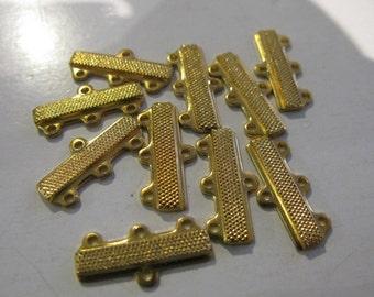 Goldplated 3 Loop End Bar, 3 Strand Necklace and/or Bracelet End Bar Connector , Bar for Multistrands of Beads, End Bar for 6mm Multistrands