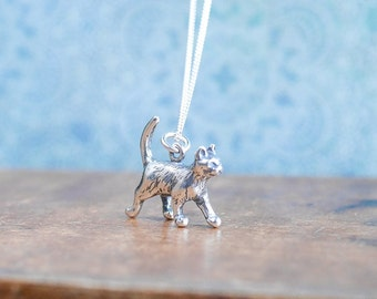 Silver Cat Necklace • Jewellery gift presents for girlfriend wife, sterling charm, crazy cat lady, cat lover, animal, pet, kitty