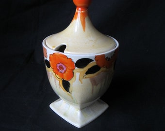 Clarice Cliff, Bizarre,Lydiat lidded preserve pot ,c1933,shape 690,original art deco, vgc