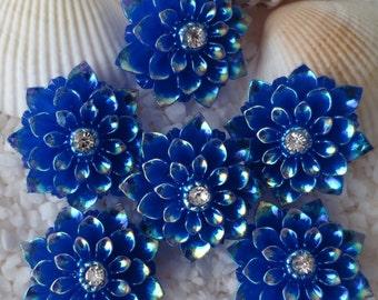 Resin Rhinestone AB Flower Cabochon - 20mm - 12 pcs - Royal Blue