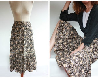 1970's Cotton Summer Floral Boho Tiered Gypsy Skirt, UK 10
