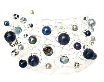 Iolite Bracelet, Blue Bracelet Pearl Gemstone Bracelets, Cuff Bracelet, Arm Cuffs, Crystal Bracelet Fashion Jewelry Handmade for her