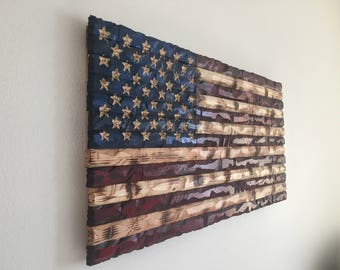 37x19  Hand-Carved Rustic Patriotic American Wooden Flag Charred/Burnt FREE SHIPPING!!!
