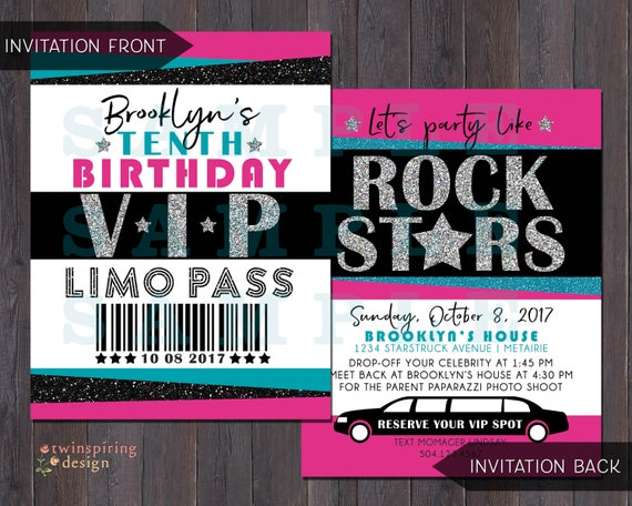 Rock star vip pass limo birthday party invitations thank you stopboris Images