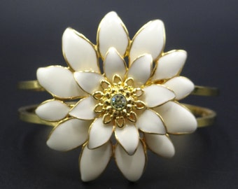 Cream Flower Hinged Bracelet with a Rhinestone Center - Cream and Gold Tone Hinged Bracelet - Modern Classic - Cream and Gold Bracelet