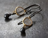 Black and White Diamond Slice Earrings in 18kt Gold and Sterling Silver