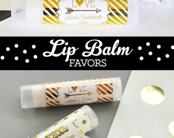 Bachelorette Party Favors - Bachelorette Favors - Bachelorette Party Gifts - Gold Bachelorette Party Lip Balm Favors (EB3031FW) set of 16|