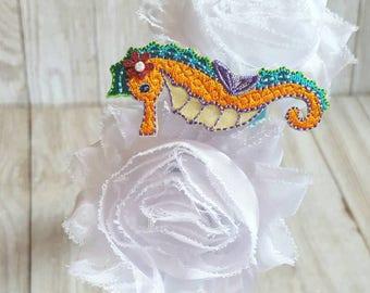 Sparkle Seahorse Rosette Boutique Band