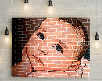Custom Baby Portrait/ Mural - Personlized Canvas Print of Printable Mural Effect Portrait