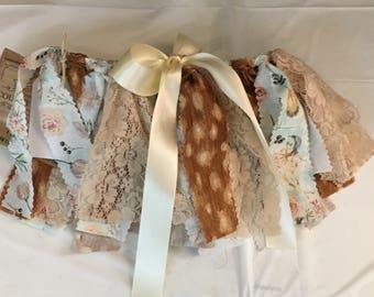 Shabby Chic Scrappy Fabric Tutu Skirt-Deer Theme