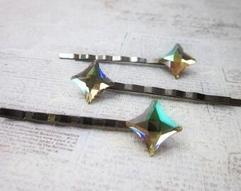 Star Hair Clip, Green Hair Star, Sparkling Bobby Pin, Crystal Hair Stars, Light Green Hair Pin, Green Swarovski Hair Pin, Star Accessory