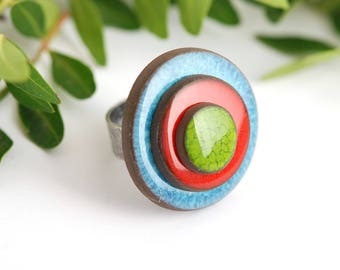 """Adjustable ring ceramic collection """"confetti"""" blue green red"""