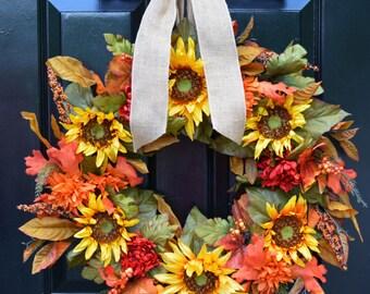 Sunflower Fall Wreath- Limited Edition Fall Sunflower Wreath- 24 inch- Yellow Artificial Wreaths- Year Round Decor- Door Wreath- Fall Decor