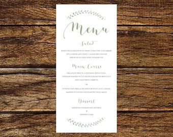 Printable Wedding Menu Digital File
