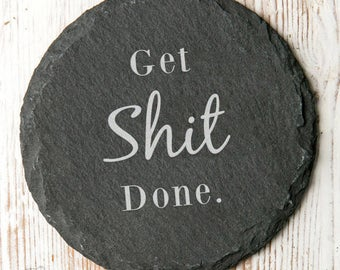 Gin And Bear It Quote Slate Coaster