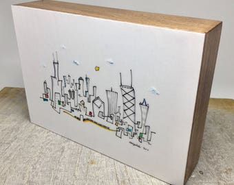 Ready to ship. Line drawing, Chicago skyline, 5x7 inch, hand drawn and mounted on  wood block, CTA art, Joe Smigielski