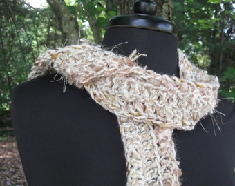 Ivory Alpaca and Glittery Light Caramel Brown Scarf