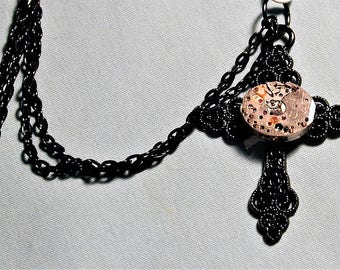 Steampunk Vintage Watch Movement Black Goth Cross Pendant with Chain OOAK