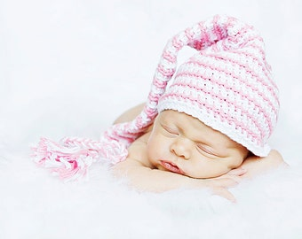 Newborn elf hat rose pink and white striped
